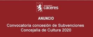 Convocatoria concesión de Subvenciones Concejalía de Cultura 2020