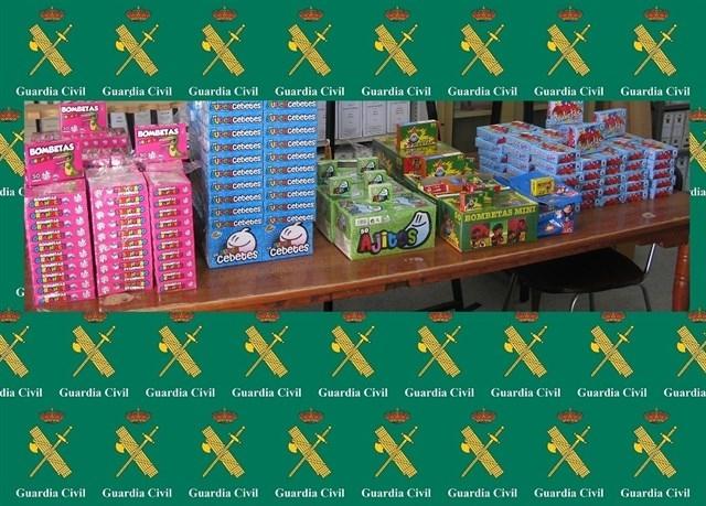 La Guardia Civil interviene en la ciudad de Cáceres 24.000 petardos que se iban a vender sin autorización