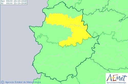 Alerta amarilla para este sábado en la provincia de Cáceres