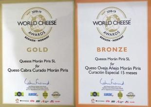 Quesos Morán Piris, un Oro y un Bronce en los World Cheese Awards 2018-2019