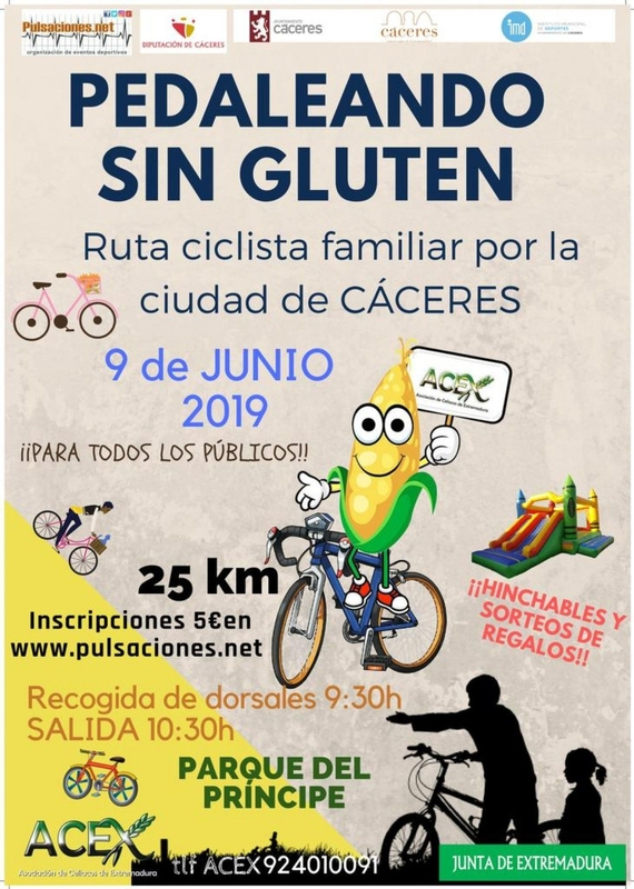 La ACEX celebra este domingo en Cáceres la I Ruta Ciclista 'Pedaleando sin gluten'