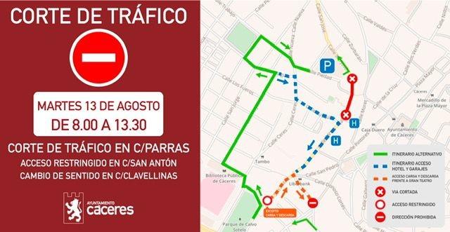 Cortes de tráfico de la calle Parras