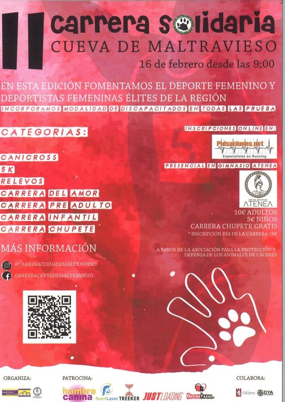 La II carrera solidaria 'Cueva de Maltravieso' será el próximo 16 de febrero