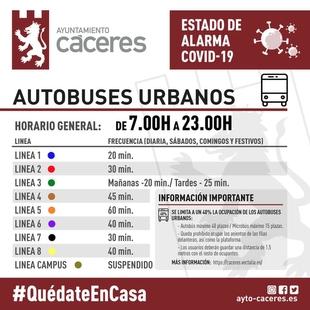 Horario de autobuses urbanos durante el estado de alarma por el Covid-19