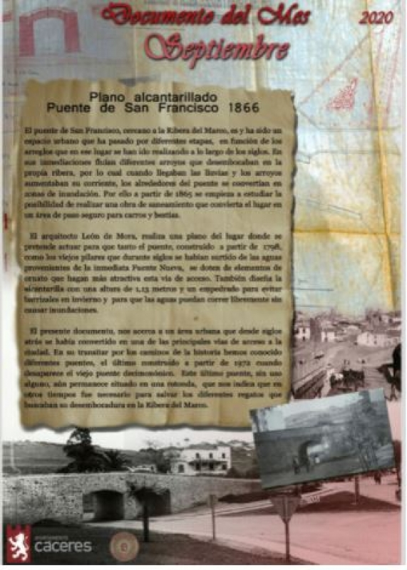 El Palacio de la Isla expone como Documento del Mes de Septiembre un Plano del alcantarillado del Puente de San Francisco
