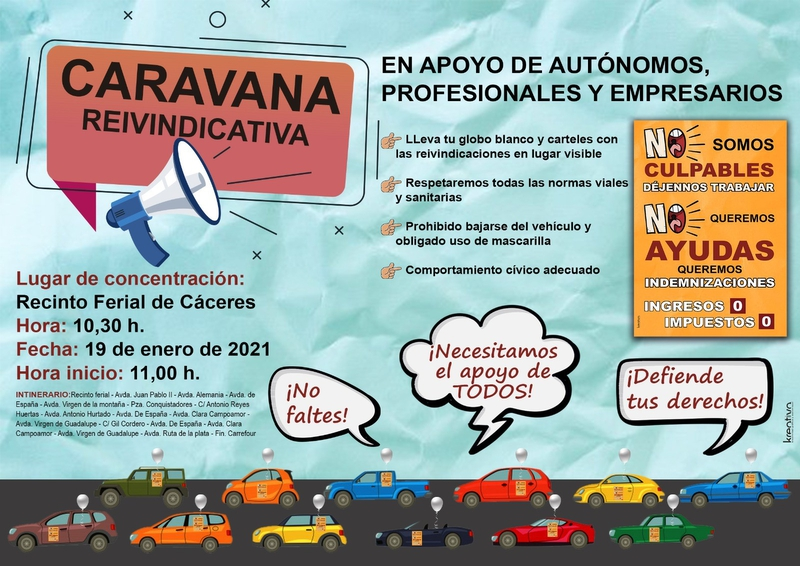 AECA y CEC participarán en la caravana de protesta en defensa de los empresarios y autónomos, el martes 19 de enero