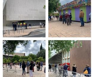 Ambiente tranquilo en el ensayo de lo que será la vacunación masiva contra el Covid en el Palacio de Congresos de Cáceres