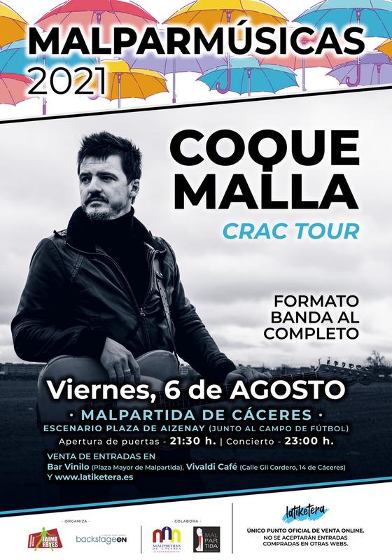 Coque Malla y Noche Sabinera actuarán en la segunda edición de Malparmúsicas, el 6 y 7 de agosto, con sus bandas al completo